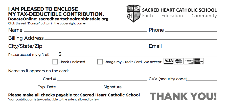Sacred Heart Donation Slip