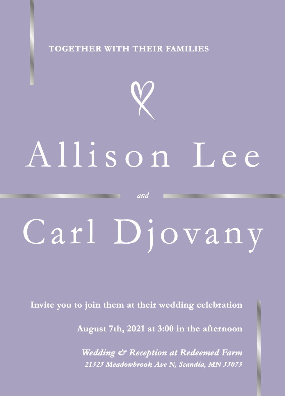 Alli and Carl invites